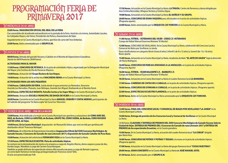 Programa Feria Vejer 2017
