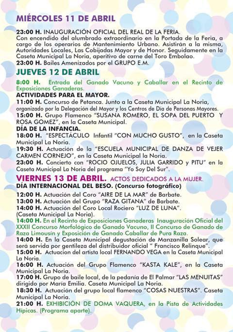 Programacion Feria Miercoles a Viernes